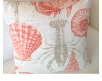 Outdoor sea creatures pillow cover - lobster pillow cover - fish pillow cover - coastal pillow cover - beach pillow cover - nautical pillow