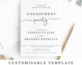 Engagement party etsy diy engagement party invite pdf print at home engagement party invitation template printable were engaged invitationtemplate the one stopboris Images
