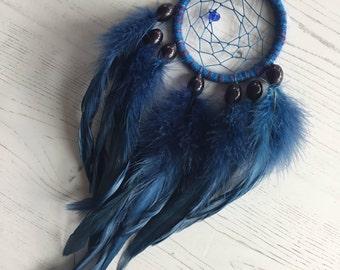 Denim Blue Dreamcatcher - blue dream catcher, small dreamcatcher, small dream catcher, car dreamcatcher, car dream catcher, native american