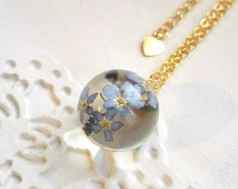 Gift for her Real flower necklace  handmade charm sphere gold filled jewelry resin flower charm blue forgetmenot bridesmaid gift heart charm