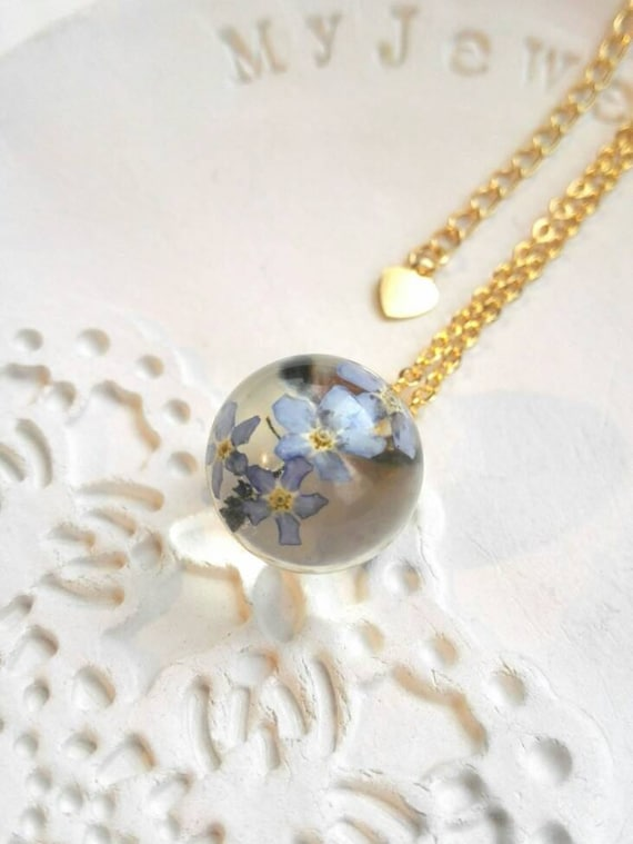Mother's day necklace gift Real flower necklace sphere gold filled jewelry resin flower charm blue forgetmenot bridesmaid gift dangle heart
