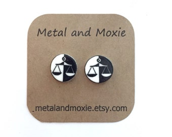 Scales of Justice Stud Earrings, Attorney, Lawyer, Judge,  Law School,  Paralegal, Under 10 Dollars Jewelry Gift