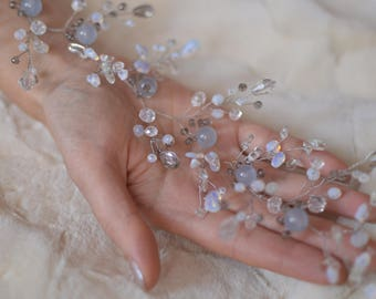"""Wedding jewelry, bridal hairstyle, sprig headpiece of quartz and moonstone """"Smoke on the water"""""""