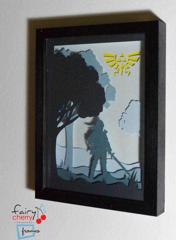 Zelda link framed handmade paper cut special wall art unique like this item teraionfo