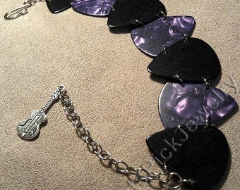 Purple Pearl and Black Genuine Guitar Pick Bracelet With Guitar Charm