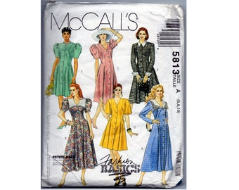 Dress Pattern - Puffy Sleeves - Button Front -Full Flared Skirt - Princess Seams - Misses sizes 6 8 10 - McCalls 5813 - Vintage 1990s