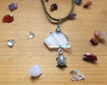 Sea Glass Turtle and Green Suede Necklace