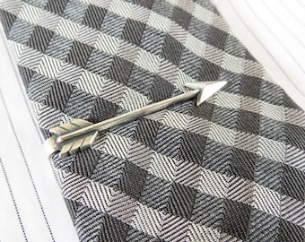 Arrow Tie Bar- Arrow Tie Clip-Gifts For Men- Silver or Antique Brass Finish