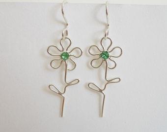 Flower Dangle Earrings Sterling Silver