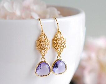 Purple Earrings, Gold Earrings, Filigree Amethyst Purple Glass Drop Dangle Earrings, Purple Wedding Bridal Jewelry Bridesmaid Earrings