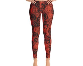 Red Hot Primitive Circles Leggings