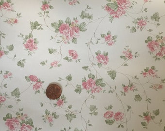 Shabby Chic pink rose dollhouse wallpaper- Free shipping to the US
