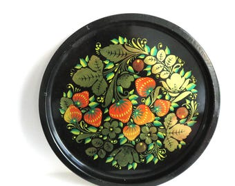 Vintage Round Serving Tray, Large Floral Metal Tin Tray, Shiny Strawberry Party Drinks Display Platter, Black Gold Kitchen Decor, Gift
