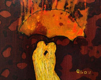 Original Painting Glow Lovers In The Rain by artist Rafi Perez Mixed Medium on Canvas 11X14