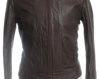 Vintage Brown Leather Bomber Jacket S- www.brickvintage.com