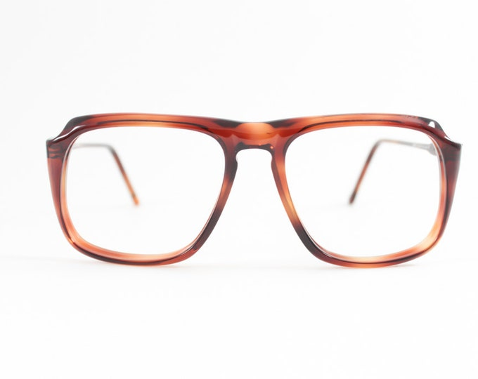Vintage 80s Aviator Glasses   Tortoiseshell Rounded Eyeglass Frame   NOS 1980s Eyeglasses - Peninsula Amber