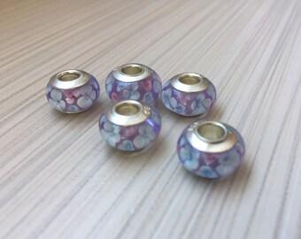 Murano glass beads 1 pcs 925 sterling silver / Murano glass beads charms 925 sterling silver