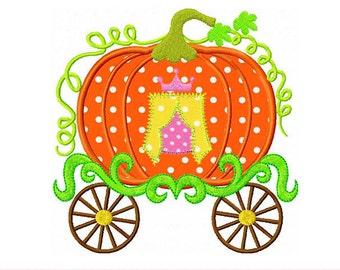 "Princess Pumpkin Carriage Thanksgiving Machine Embroidery Applique Design TH0009 - 4x4 5x5 6x6"""