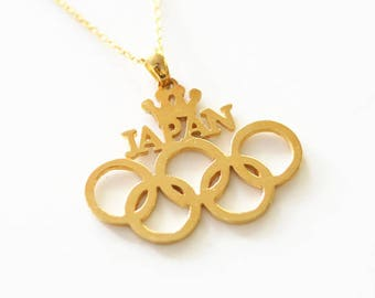 2016 Rio Summer Olympics 5 Rings Logo, Olympic Necklace, Silver 5 Rings Necklace, Champion Necklace, Country Necklace, Olympic Jewelry