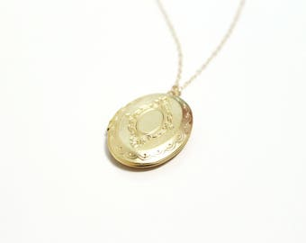 Gold Locket Necklace, Long Gold Filled Necklace, Oval Floral Locket, Keepsake Jewelry, Dainty Necklace, Delicate Necklace, Gift for Women