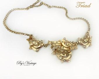 Unique Vintage TRIAD Rhinestone Gold Necklace