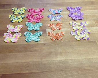 16 crocheted butterflies  small 2 inches