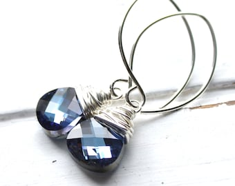 Blue Crystal Earrings, Maliblue Swarovski Crystal Sterling Silver Wire Wrapped Teardrop, Dark Navy Blue