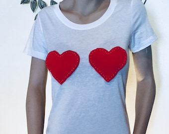 Womens Heart T-shirt | Heart Shirt| Two Heart Tshirt | Love Heart Valentines Day | Valentine Gift | valentine's Day Gift | Gift for Her