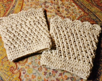 Crocheted Boot Cuffs Oatmeal Acrylic Wool Blend Women