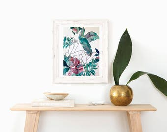 Mahalo | Original Abstract Floral and Figurative Watercolor Painting