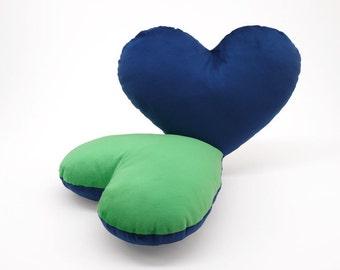 Green and Dark Blue Team Spirit Hug Heart Shaped Pillow 12x14 inches