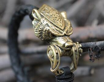 Bear leather bracelets men's bracelet Scandinavian style Norse man Nordic Pagan