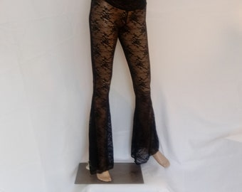 Black floral lace bell bottoms