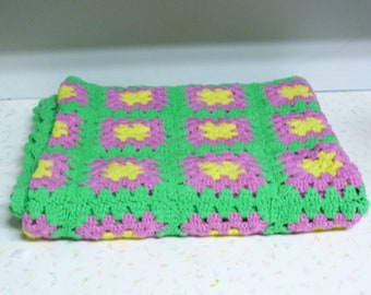 Bright Fun Vintage Granny Square Blanket