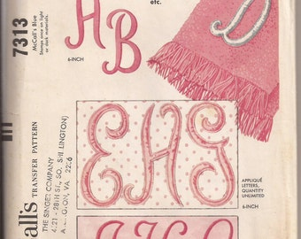 M 7313 Script Alphabets in 4 inch Satin Stitch and 6 inch Applique Initials for Monogramming Transfer Pattern