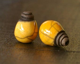 RAKU CERAMIC BEADS - set of 2 pearls raku yellow sun shiny