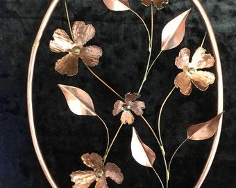 Copper Dogwood blossoms, Copper wall art, Flowers.