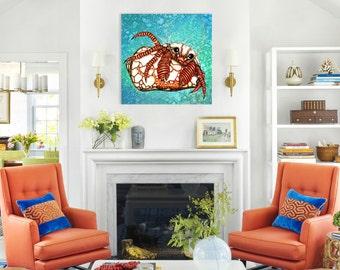 Art tile, Carnival Crab, Crustacean, Original 8x8 illustrated sea creature, splash tile, wall décor for home, bathroom or kitchen