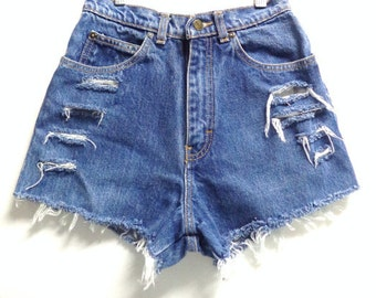Vintage 80's High Waisted Distressed Denim Shorts Waist 30 inches