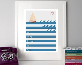 Nautical typography, sailing illustration, nautical home decor, sea illustration, illustration print, typography print, sailing poster, art