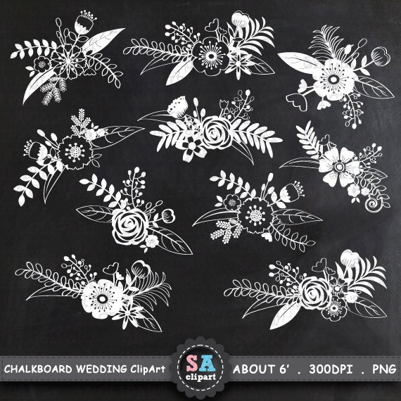 """Flower Wall Decor Reversible Mosaic With Chalkboard: Chalkboard Wedding Clipart """"WEDDING FLOWER"""" Clip Art Pack"""