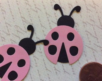 SET of 15 Black and Pink Ladybug Die cuts punches cardstock 1 inch -Scrapbook, cards, embellishment, confetti