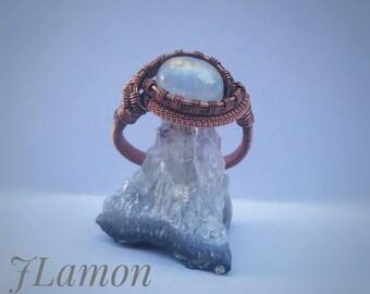Rainbow moonstone wire wrap ring