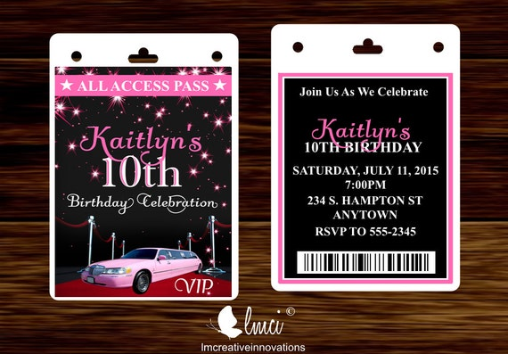 Pink limo birthday invitation vip invitation pass red carpet pink limo birthday invitation vip invitation pass red carpet vip badge stopboris Image collections