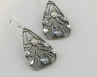 Filigree Earrings with Blue Swarovski Crystals by Victorian Folly