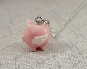 Flying Pig Necklace, Pig with Wings Charm on a Silver Plated Cable Chain