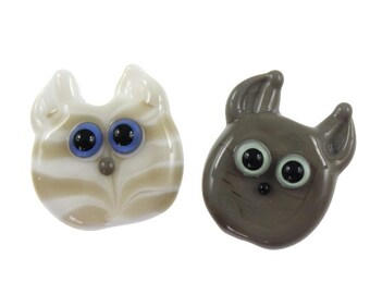 The Brothers - Glass Cat Faces Lampwork Bead