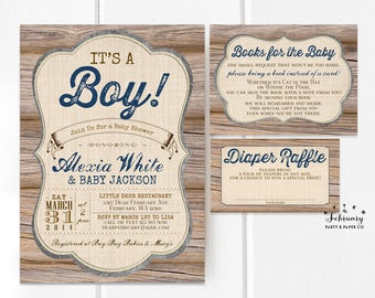3-Piece-Suite Rustic Baby Shower Invitation, Baby Shower Invitation Insert, Navy Brown It's A Boy Baby Shower Printable No.709NAVY