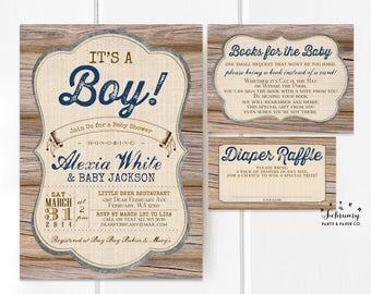 3 Piece Suite Rustic Baby Shower Invitation ...