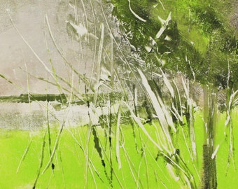 "Original image, Monotype ""Lakeside 4"", sheet size 30 x 40 cm, motif size 20 x 30 cm, trees, lake, water, abstract landscape, night"